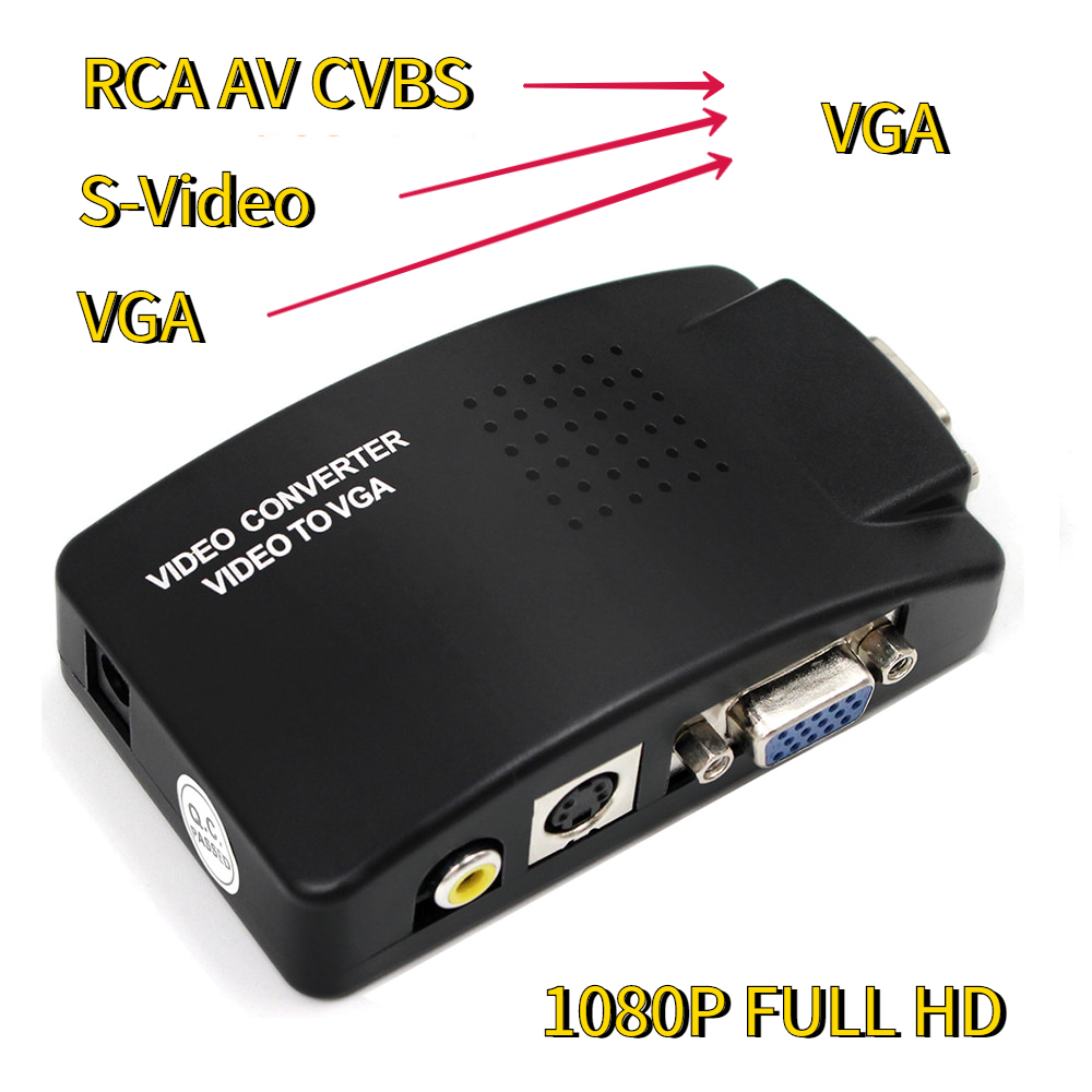 AV to VGA Adapter RCA VGA Converter PC Laptop Video TV RCA Composite S-Video AV In To PC VGA LCD Out Converter Switch Box Black