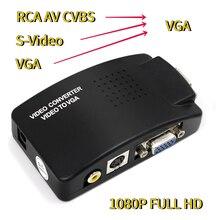 Adaptador AV a VGA, convertidor RCA VGA, PC, portátil, vídeo, TV, RCA, s video, AV, entrada a PC, VGA, LCD, Out, convertidor, caja negra