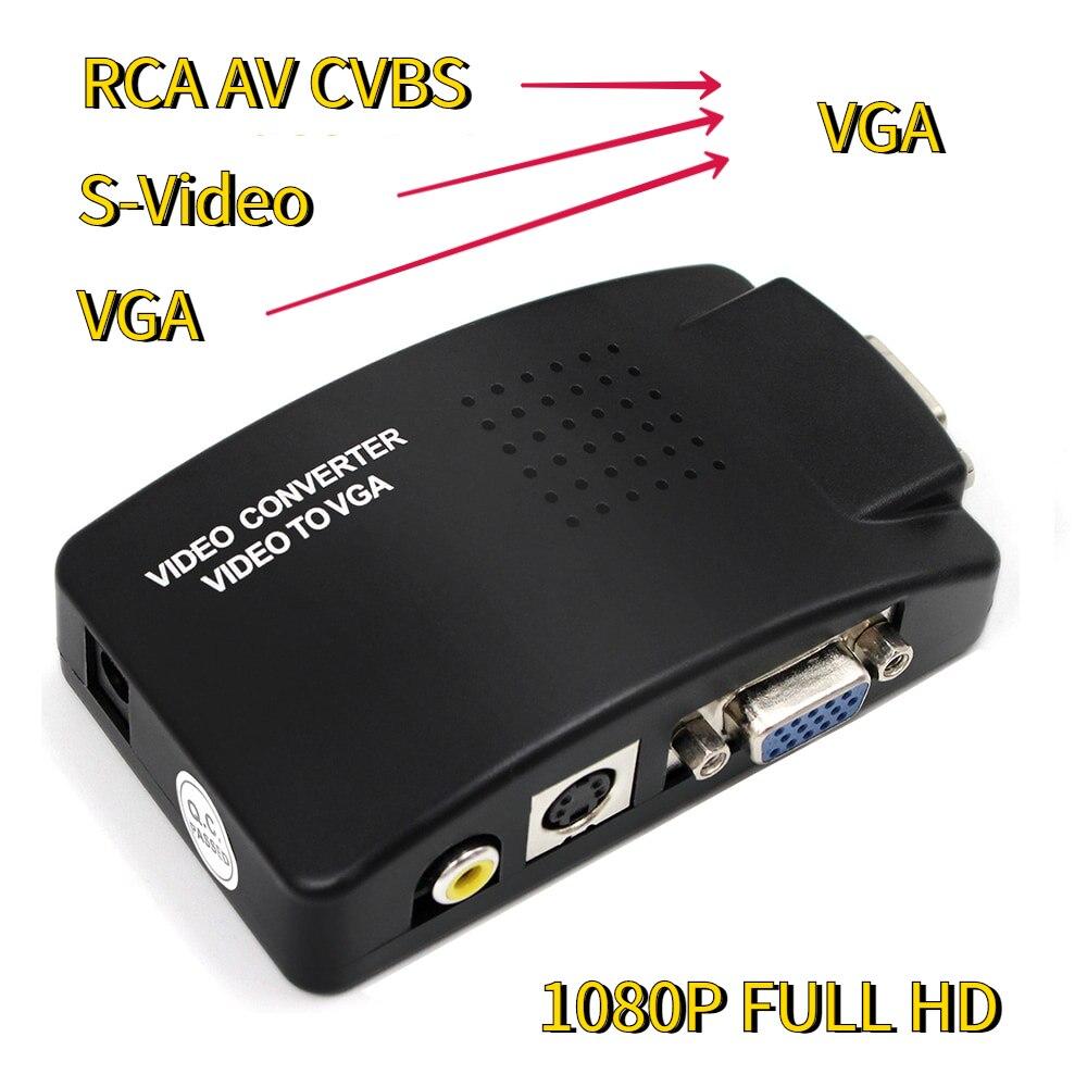 AV в VGA адаптер RCA VGA конвертер ПК ноутбук видео ТВ RCA композитный s-видео AV в ПК VGA LCD выход конвертер переключатель коробка черный