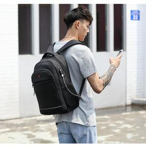 Image 5 - Charging USB teens School Bags for Teenage Boys Backpack men nylon black solid High Quality student SchoolBag Preppy Style