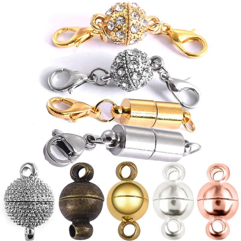 5pcs Magnetic Lobster Clasps Buckle Hook Round Crystal Beads Disco Ball Clasp For Bracelet DIY Jewelry Making Findings