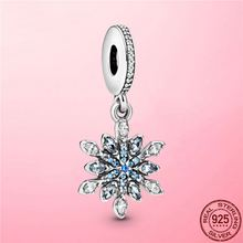 2021 New 925 Sterling Silver Shimmering Snowflake Dangle Charm Pendant fit Original Pandora Bracelet Necklace Silver 925 Jewelry