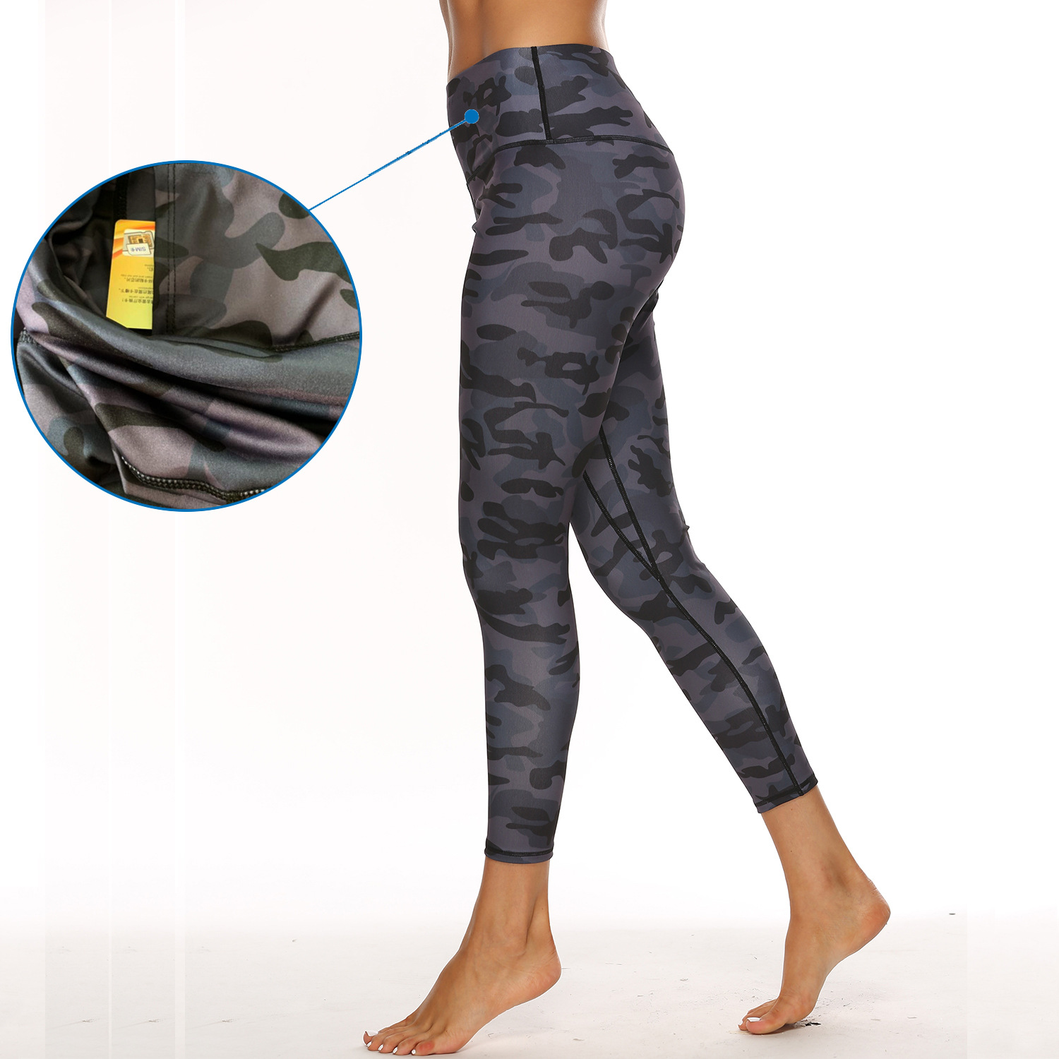 Europe And America High-waisted Tight Yoga Pants Inside Pocket Yoga Pant Leopord Pattern Camouflage Printed Fitness Women's Legg