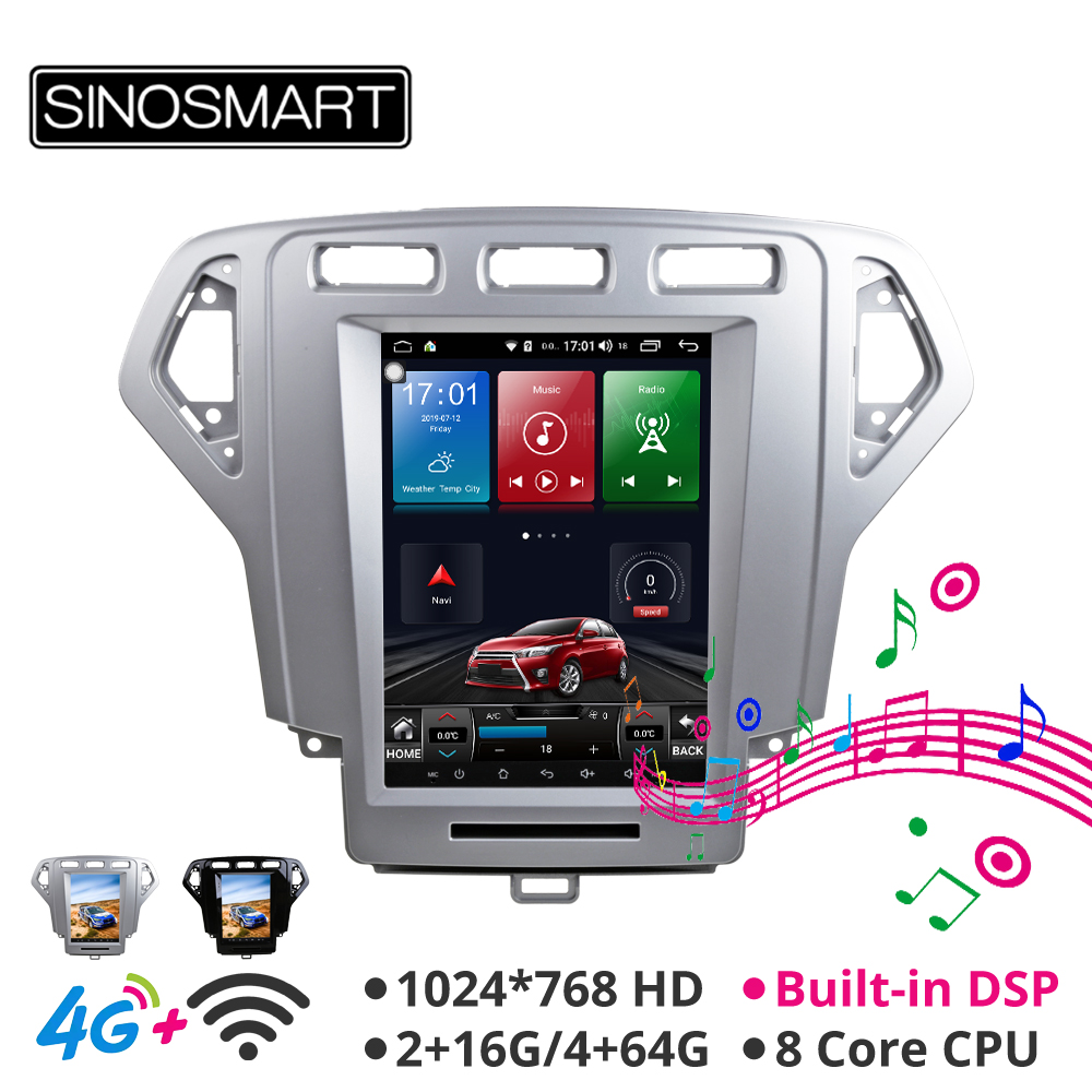 Sinosmart Andriod 8.1 Tesla style Vertical screen 9.7 inch car gps multimedia radio navigation player for Ford Mondeo 2007-2010