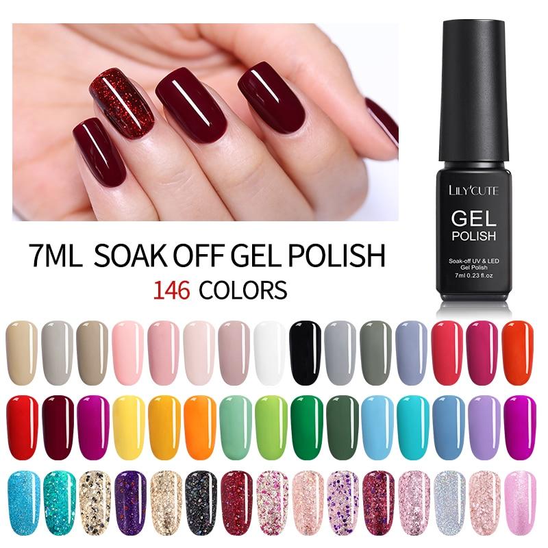 LILYCUTE 7ML UV Gel Varnish Nail Polish Set For  Gellak Semi Permanent Hybrid Nails Art Off Prime White Gel Nail Polish