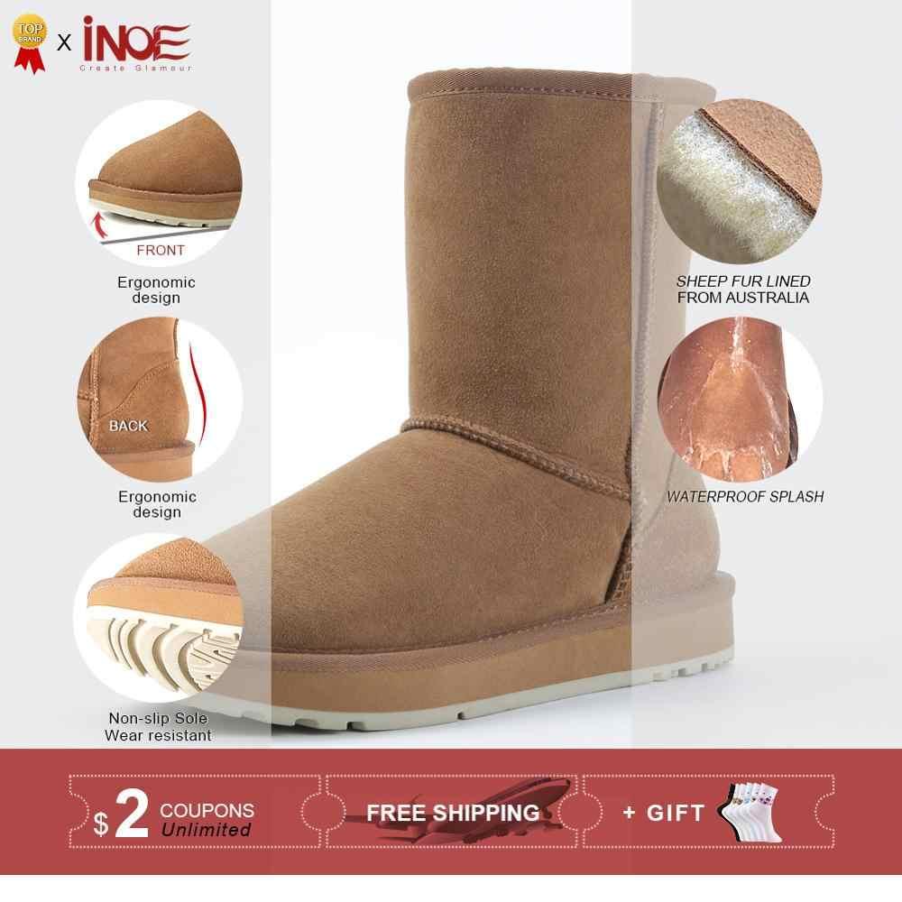 INOE Temel Orta buzağı Koyun Derisi Deri Süet Kışlık Botlar Kadınlar için Koyun Yünü Shearling Kürk Çizgili Kar Botları Ayakkabı siyah Kahverengi