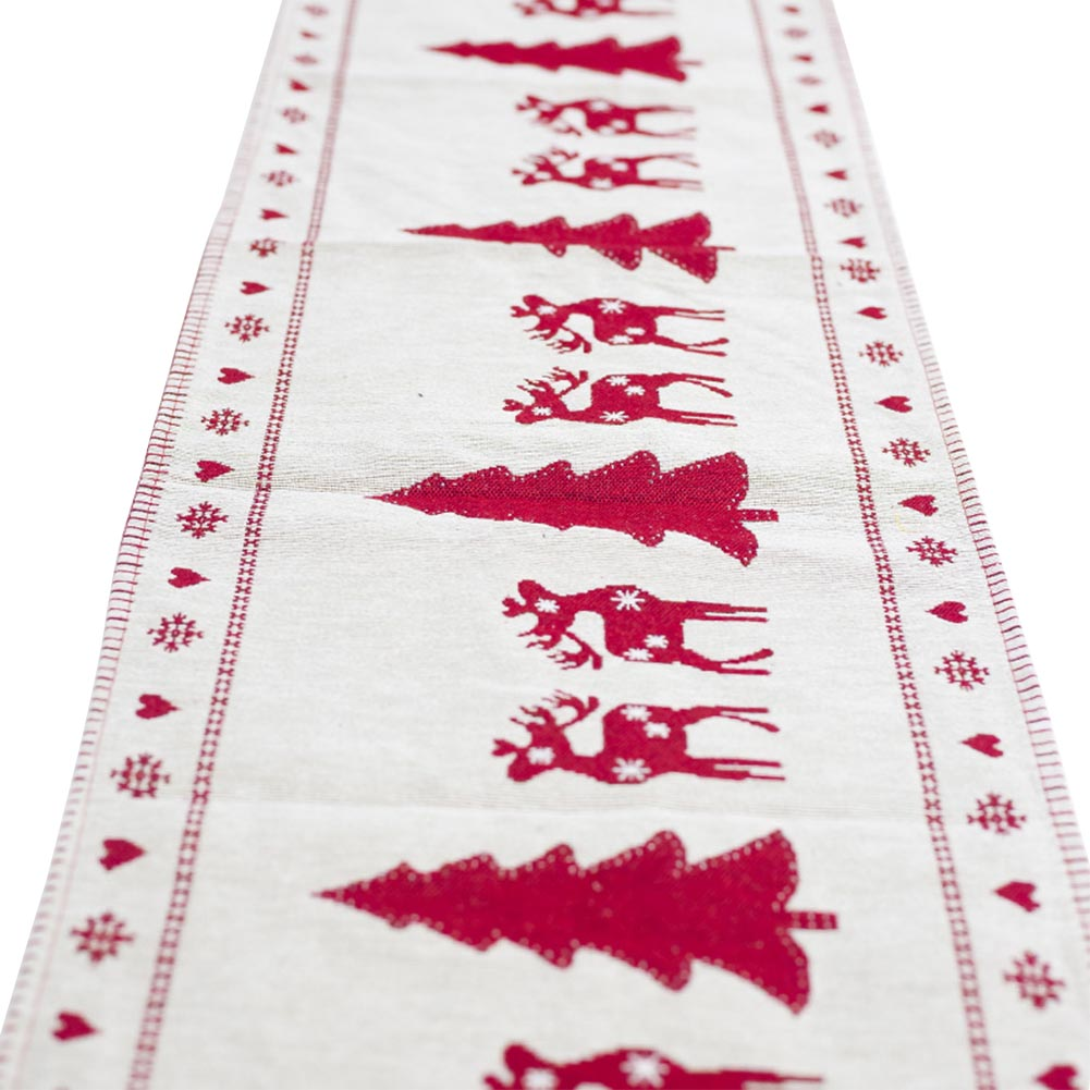 Table Runner Flag Christmas-Decoration Linen Embroidered Banquet Cotton Snowman Home
