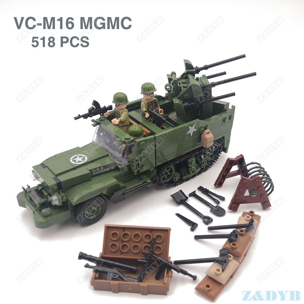 M16 MGMC US Army Half Track Military Vehicle Tank Panzer WW2 Mini Soldier Locking Figure Model Building Block Brick Children Toy