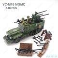 M16 mgmc exército dos eua meia pista tanque veículo militar panzer ww2 mini soldado travamento figura modelo bloco de construção tijolo crianças brinquedo