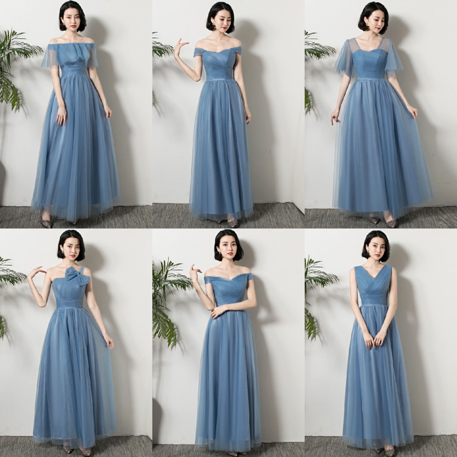 Gray Blue Bridesmaid Dresses Long Plus Size Guest Wedding Party Elegant Tulle A-Line New Years Eve Dress Sexy Princes Prom
