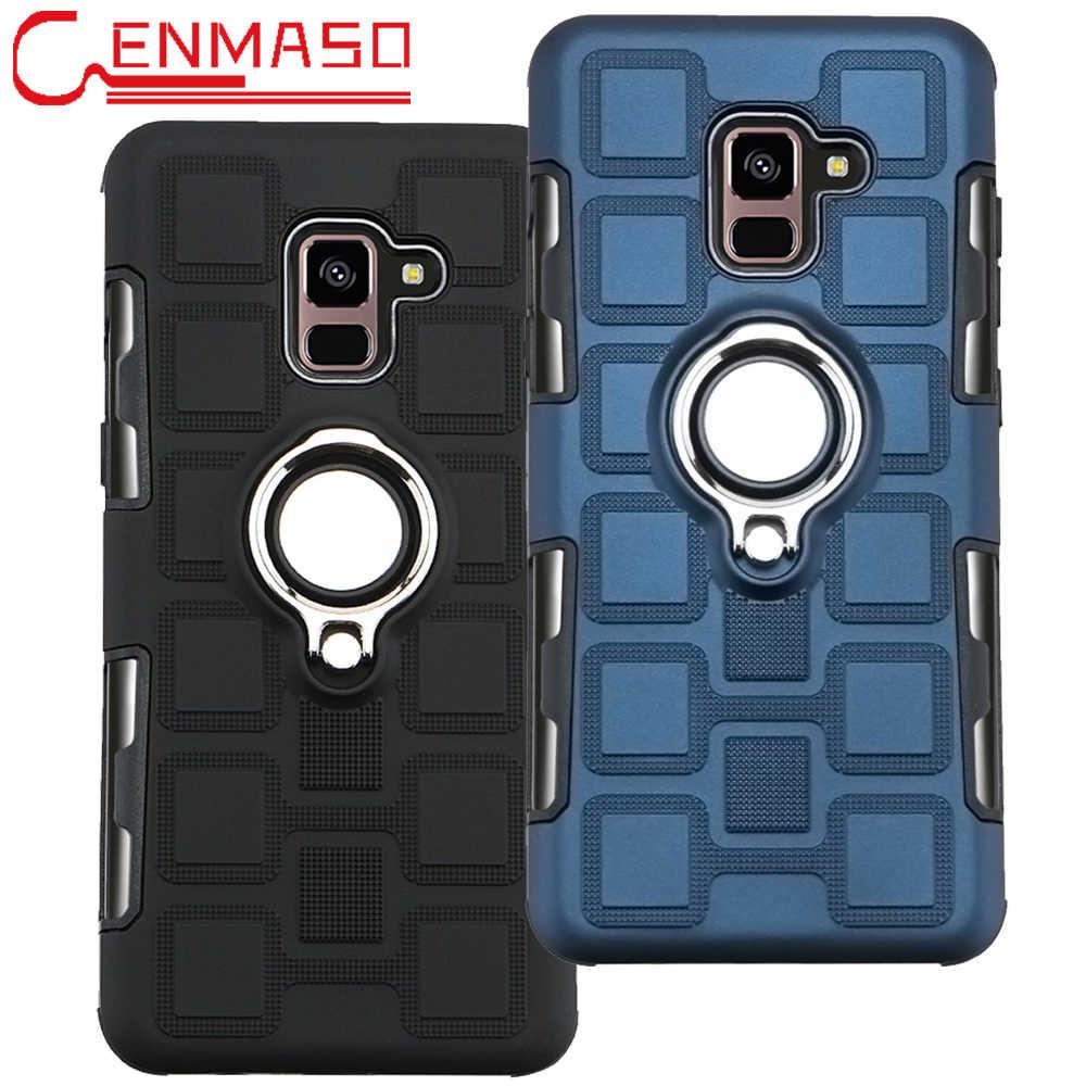 Untuk Samsung A8 2018 Case untuk Samsung Galaxy A8 Plus 2018 Pemegang Mobil Magnetik Cincin Back Cover Armor Case Tahan Guncangan kembali Capa
