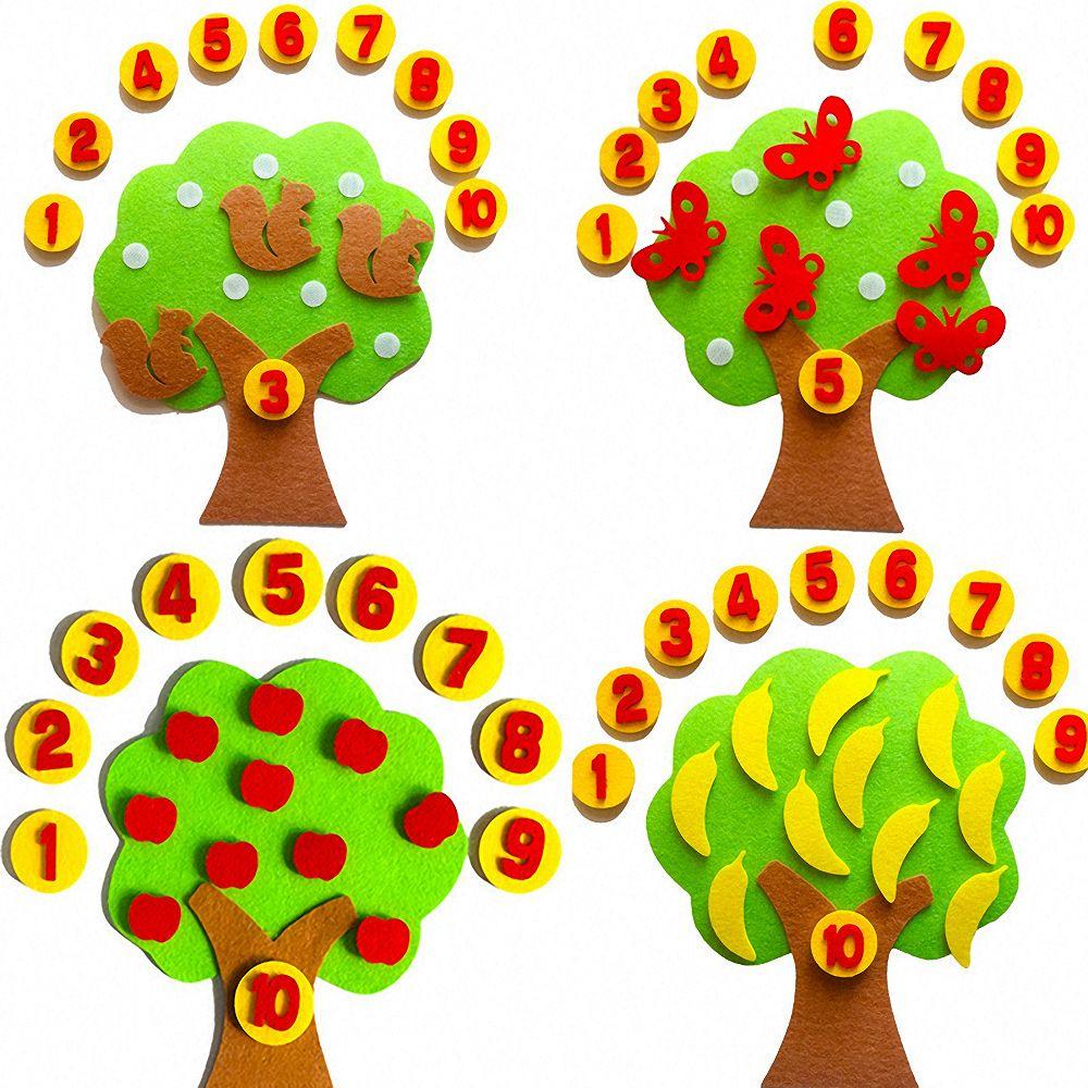 Детские развивающие игрушки Монтессори, «сделай сам», нетканое яблоко, числа, счетная игрушка, математическая игрушка, обучающие игрушки дл...