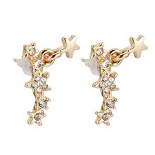 1 para złoty kolor gwiazda kryształ stadniny kolczyki biżuteria dla kobiet małe 2 3cm akcesoria do uszu aluminiowe modne kolczyki tanie tanio Ze stopu cynku Star Kobiety TRENDY Metal Moda U0540 Push-powrotem