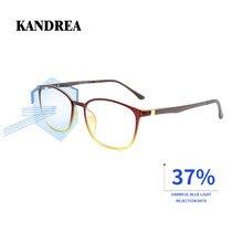 Kandrea 2020抗ブルーレイ眼鏡フレームアセテート正方形メガネフレーム抗青色光眼鏡クリアレンズ光学眼鏡