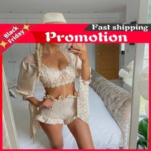 High Quality 2021 Cream Set Beach Women 1/2 Sleeve V-Neck Top And Shorts