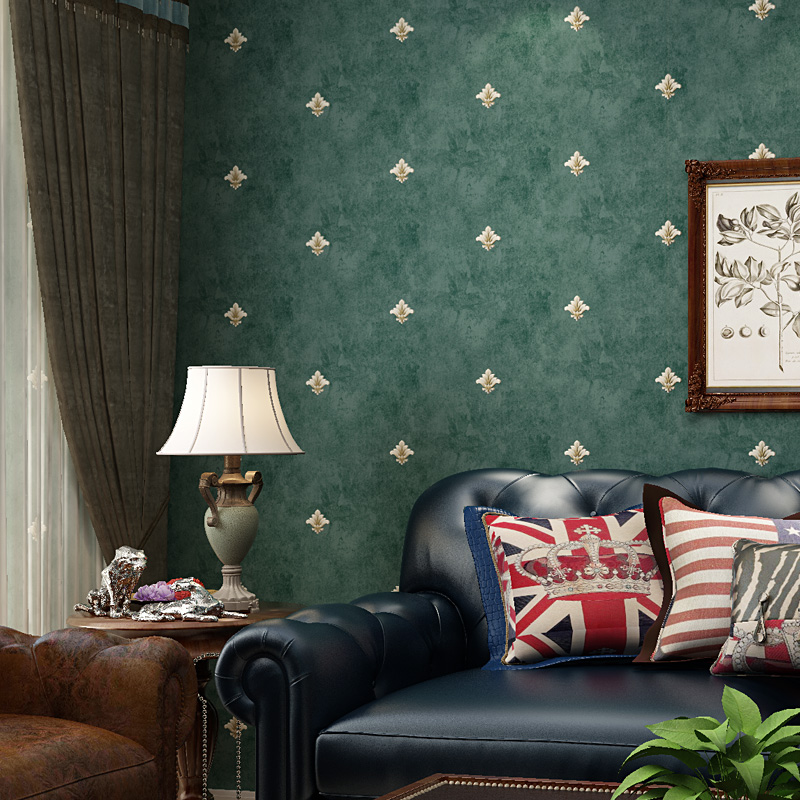 Dark Green Wall Paper Self-adhesive Retro American Rural Style Flower Wallpaper Simple Decoration Living Room Sofa TV Back