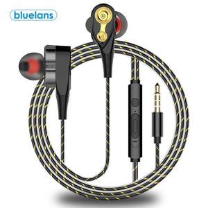 Проводные наушники-вкладыши с двойной подвижной катушкой 3,5 мм, стереонаушники с усиленными басами и микрофоном, проводная Спортивная игро...
