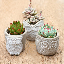 Mini Flowerpot Concrete Molds For Succulent Plants Owl Shape Flower Pot