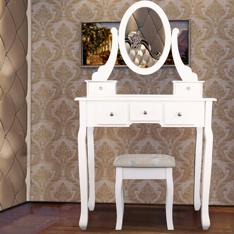 Women Dressing Table Modern Bedroom Makeup Desk  with Mirror Stool and 5 Drawers
