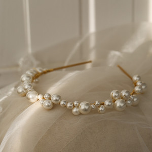 Image 4 - Vintage Freshwater Pearls Gold Leaf Opal Wedding Hair Band Headband Tiara Bridal Headpiece Hair Accessories Women Jewelry