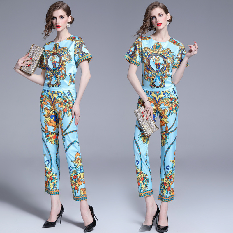 2019 New Style Fashion Printed WOMEN'S Suit Summer Retro Short-sleeved Top Skinny Pants Two-Piece Set Photo Shoot