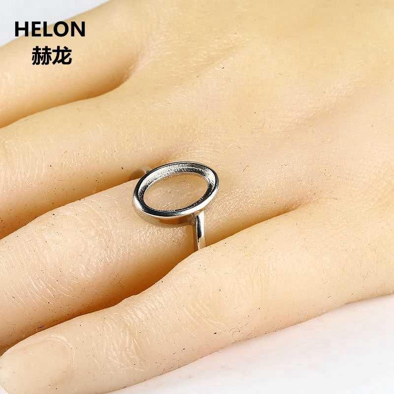 925 เงินสเตอร์ลิงแหวนหมั้น Semi แหวน 8x13 มม.รูปไข่ Cabochon สำหรับเครื่องประดับเพชรพลอยการตั้งค่าไม่มีกำไร