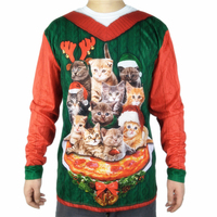 Cute Cat Pizza Printed Ugly Christmas T Shirt for Men Kawaii Men's Long Sleeve Vocation Ugly Xmas T Shirts Plus Size