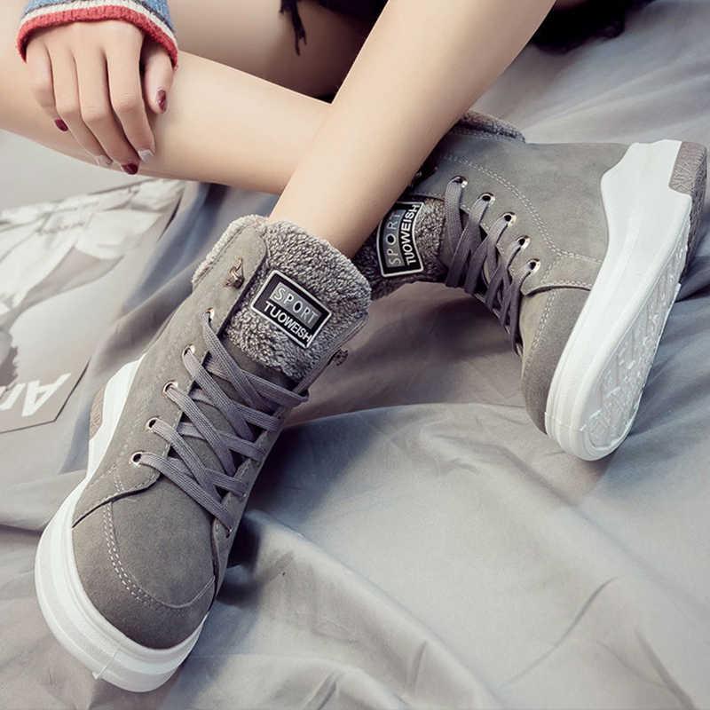 DORATASIA yeni kış sıcak ekleyin kürk ayakkabı patik bayanlar rahat dantel-up platformu yarım çizmeler kadın 2020 takozlar ayakkabı kadın