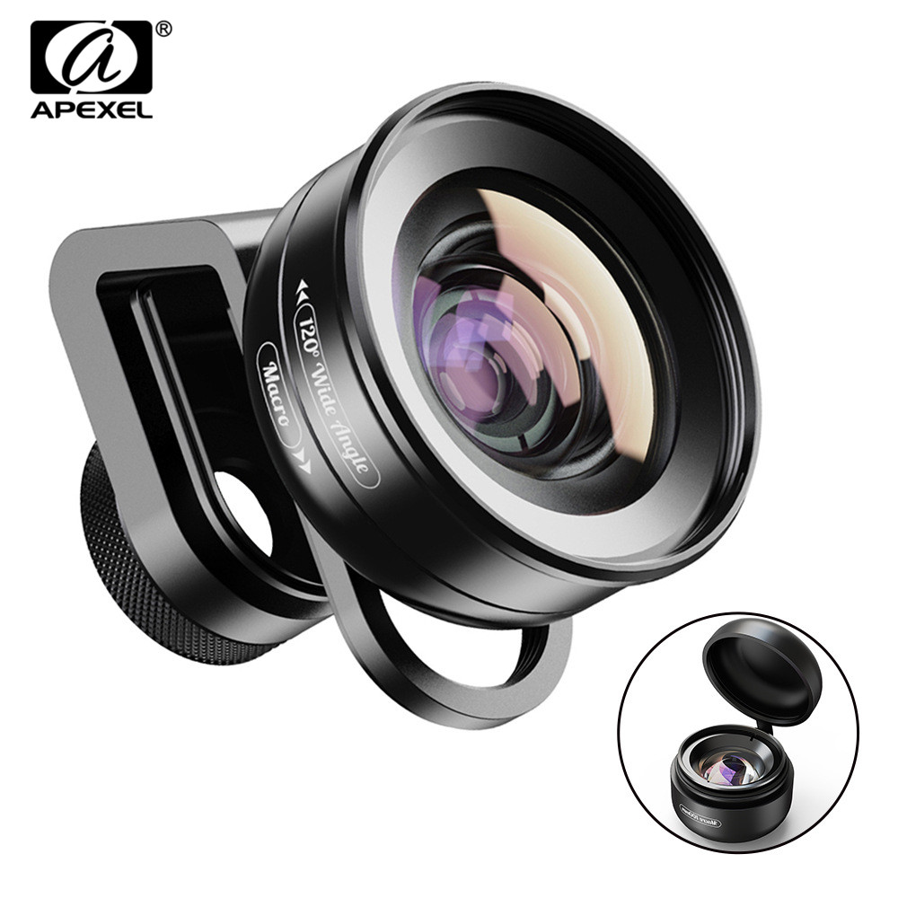 APEXEL 2in1 HD Camera Phone Lens Kit 120 degree 4K Wide angle lens + 10X Macro lens for iPhone 11 Samsung xiaomi all smartphone|Mobile Phone Lens| |  - title=