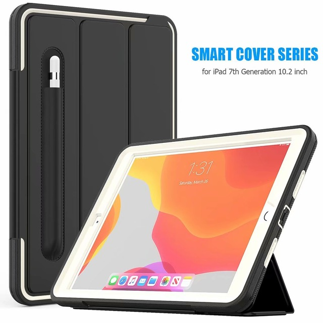 White White For iPad 10 2 2019 smart Shockproof Armor Kickstand Case For ipad 7th generation case 10