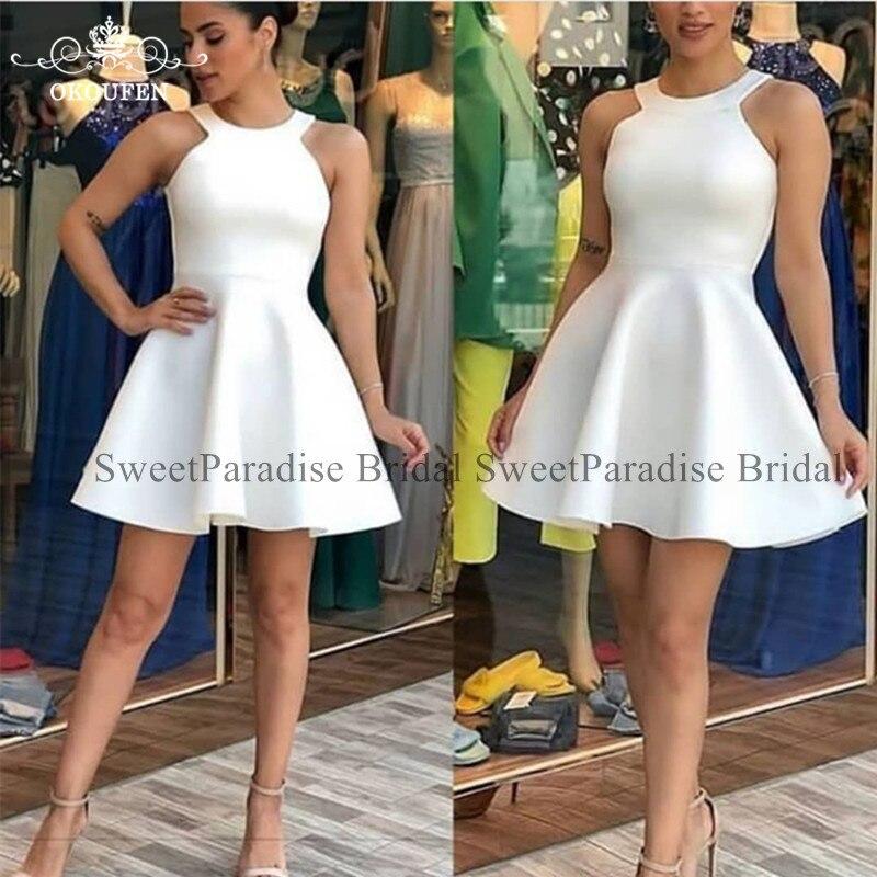 White Short Bridesmaid Dresses Vestido Madrinha Jewel Neck A Line Maid Of Honor Wedding Guest Dress For Women