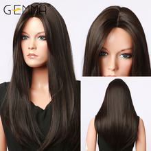 Gemma длинные шелковистые прямые черные парики для черных женщин
