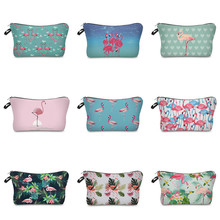 Vogvigo Floral Flamingo Printing Makeup Bags With Multicolor Pattern Cosmetics Pouchs For Travel Ladies Pouch Women Cosmetic Bag