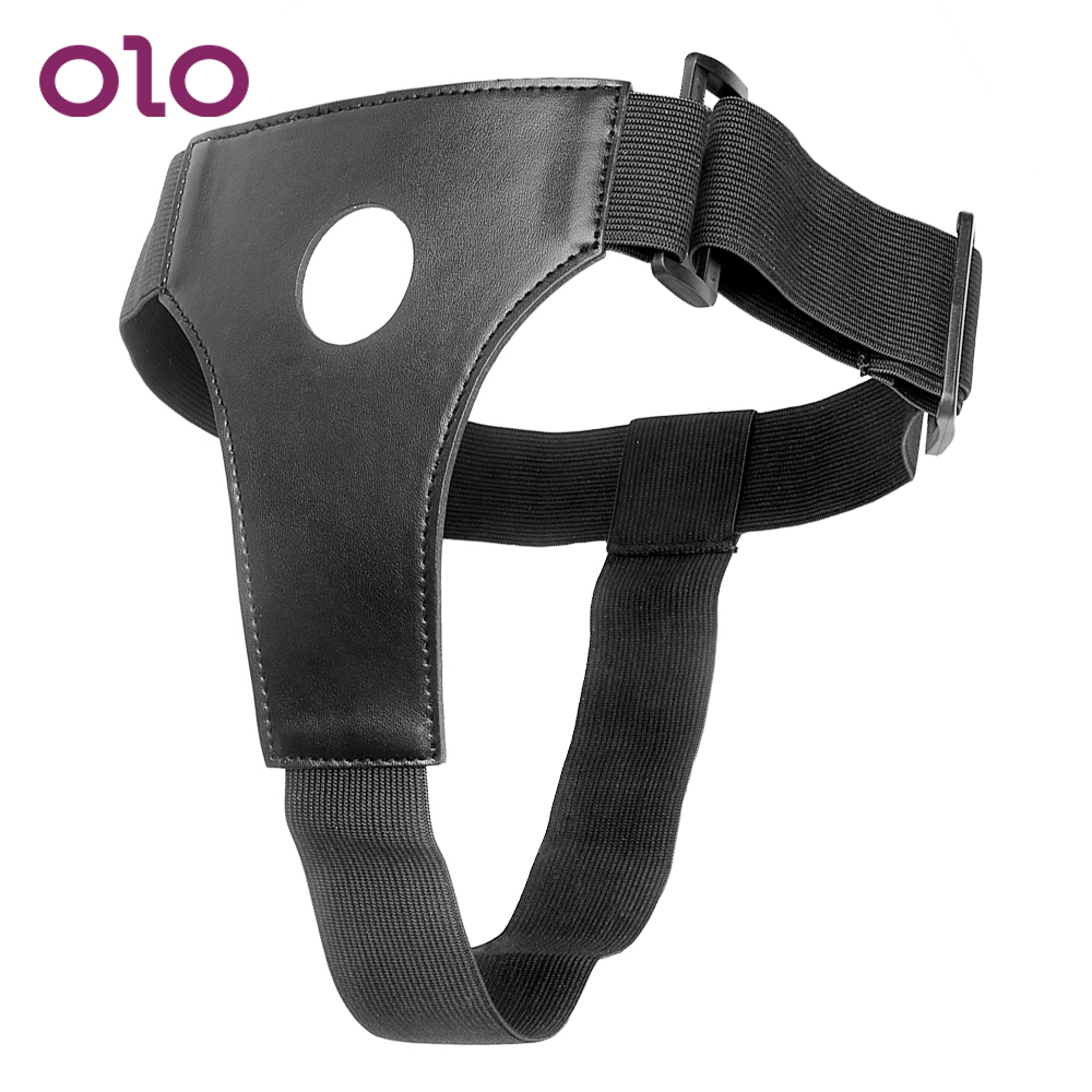 OLO <font><b>Strapon</b></font> Penis Panties Erotic <font><b>toys</b></font> Strap On Dildos Pants Wearable <font><b>Sex</b></font> <font><b>Toys</b></font> for Lesbian Gay Black Leather <font><b>Adult</b></font> Game image