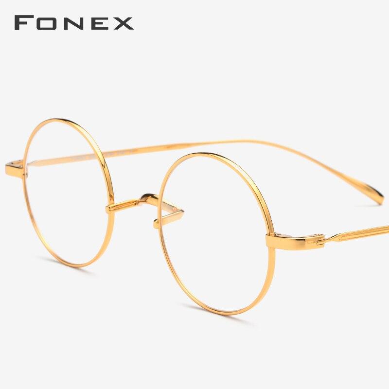FONEX B titane lunettes cadre hommes ultraléger rétro femmes ronde myopie optique Prescription lunettes Vintage lunettes 19120