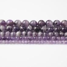 LanLi модные натуральные ювелирные изделия аметисты камни свободные бусины 4 6 8 10 12 мм DIY браслет ожерелье аксессуары