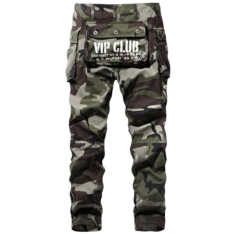Autumn Cargo Camouflage Printed Loose Straiht Pants Zipper Fashion Long Trousers Waist Safari Style Pants Pockets Sweatpants