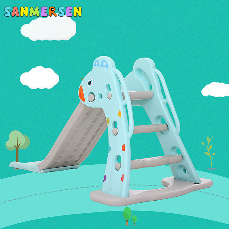 NEW Top Quantity Amusement Park Equipment Home Children Room Kids Indoor Plastic Slide With Basketball Hoop Playground Toys(China)