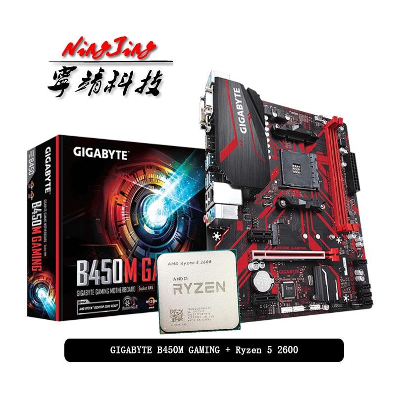 AMD Ryzen 5 2600 R5 2600 CPU + GA B450M GAMING Motherboard Suit Socket AM4 CPU + Motherbaord Suit Socket AM4 Without cooler|Motherboards| - AliExpress