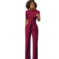 Элегантная офисная одежда для работы, деловой комбинезон 2018, женские широкие брюки с полурукавами и карманами, комбинезон, Модный комбинезо...