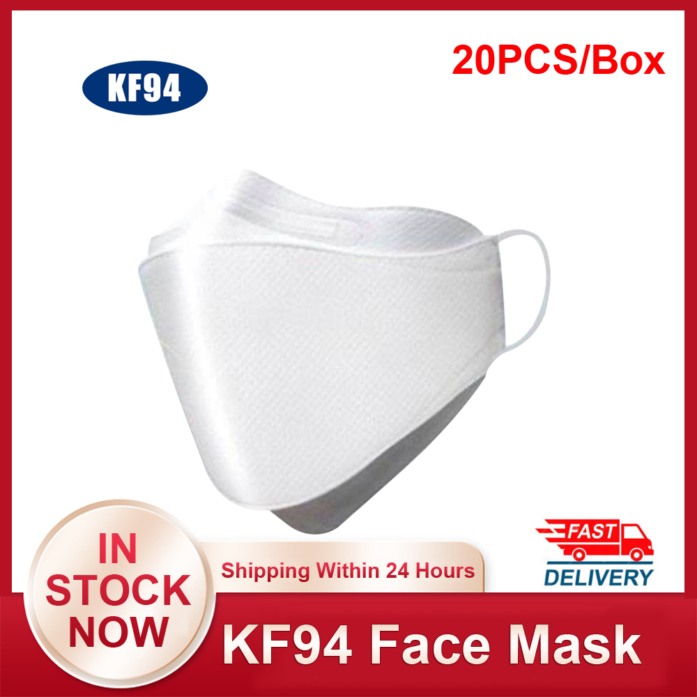 20PCS KF94 Face Mask 94% Filtration 3-Layer Protective Mouth Face Mask Against Droplet  Dust Particle