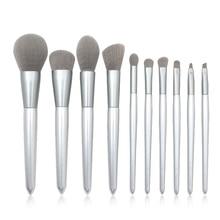 цена на 10Pcs Silver Wooden Handle Makeup Brush Set Powder Brush Eyeshadow Brush Blending Brush Professional Makeup Brushes