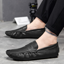 Men Casual Natural Leather Loafers  Mens Shoes Office Ventilation Non-slip 2019 Fashion Low-top
