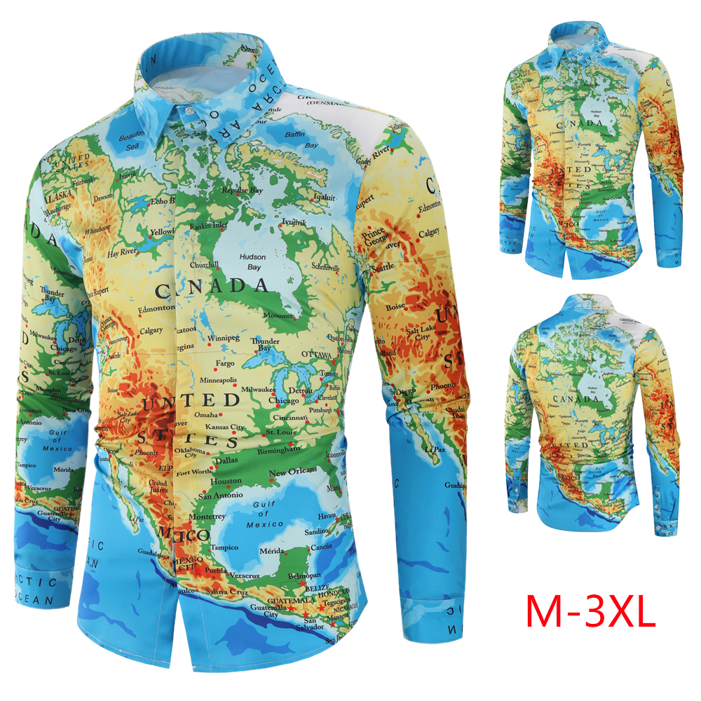 Hawaiian Shirt Men 2019 Autumn Fashion World Map Print Long Sleeve Casual Shirt Hidden Button Cotton Men's Clothes