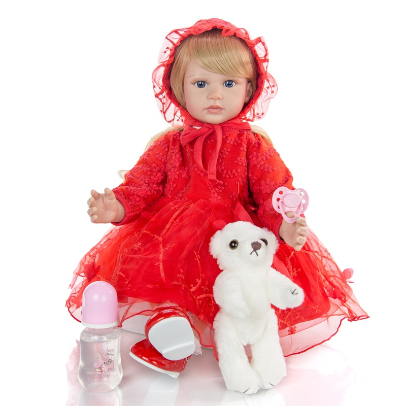 boneca vinil macio pano vermelho corpo silicone 02