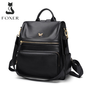 Image 1 - FOXER Genuine Leather Ladies Backpack Multifunction Women Travel Bag Anti theft compartment Large Capacity Girl School Bag