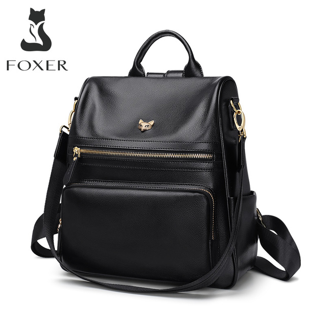 FOXER Genuine Leather Ladies Backpack Multifunction Women Travel Bag Anti theft compartment Large Capacity Girl School Bag