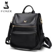 FOXER mochila de piel auténtica para mujer, bolso de viaje multifunción con compartimiento antirrobo, bolso escolar de gran capacidad para chica