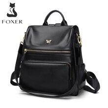 FOXER sac à dos en cuir véritable pour femmes, sac à dos multifonction, compartiment antivol, grande capacité, sac décole pour filles