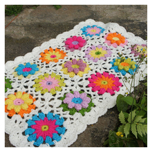 Hand crochet Hollowed-out hook bud silk vertical flower  sofa chair cushion pastoral wind restoration  blanket tea table cloth knitting warmth flower plaid hollowed square sofa blanket